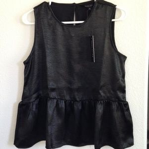 Walter Baker Black Sleeveless Juliette Peplum Top